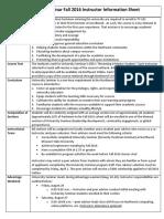 Fall 2016 University Seminar Faculty Instructor Info Sheet