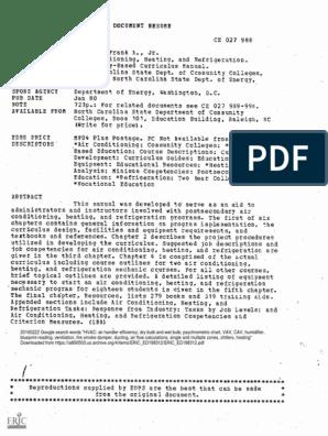 HVAC Curriculum 1980 | Hvac | Duct (Flow)