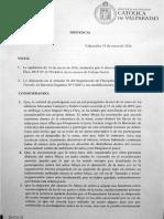 Sentencia Rector PUCV contra estudiante