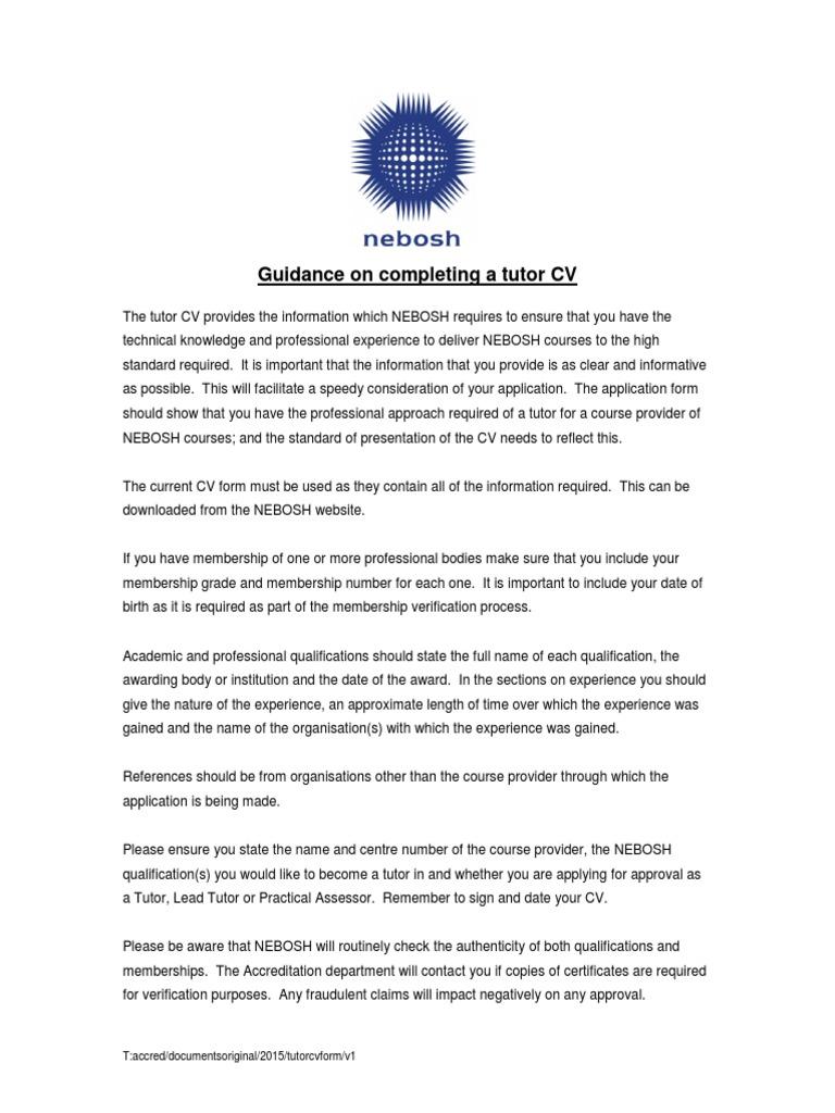 NEBOSH Tutor CV And Guidance