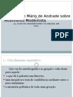 Discurso de Mário de Andrade Sobre Movimento Modernista