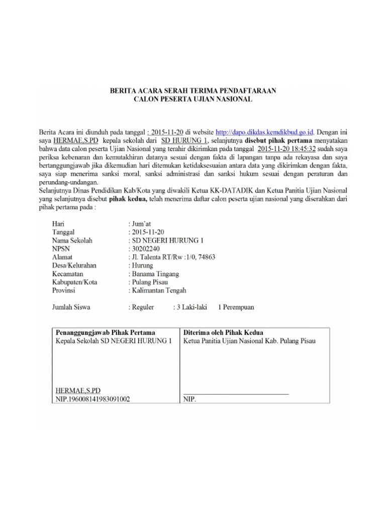 Berita Acara Serah Terima Pendaftaran Un Sdn Hurung1 Pdf