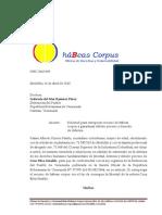 Petición de trámite de hábeas corpus a la Defensoría del Pueblo de Venezuela
