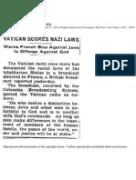 June 27, 1943 - New York Times - Vatican scores against Nazi Laws