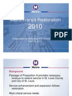 Metro Transit Restoration 2010 Presented 04 16 10