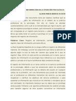 El Registro de Información en La Atención Psicológica y Bioetica