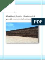 Estabilización de Talud en El Hospital Cardón de Punto Fijo Municipio Carirubana Del Estado Falcón