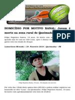 HOMICÍDIO POR MOTIVO BANAL Jovem é Morto Na Zona Rural de Queimadas