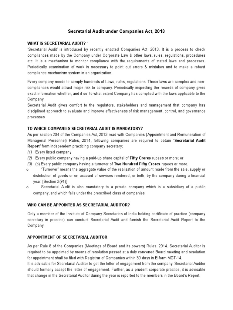 1236944 66352 Secretarial Audit Under Companies Act 2013 Audit