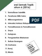 Senarai Topik Sains Tahun 6 2016 KSSR