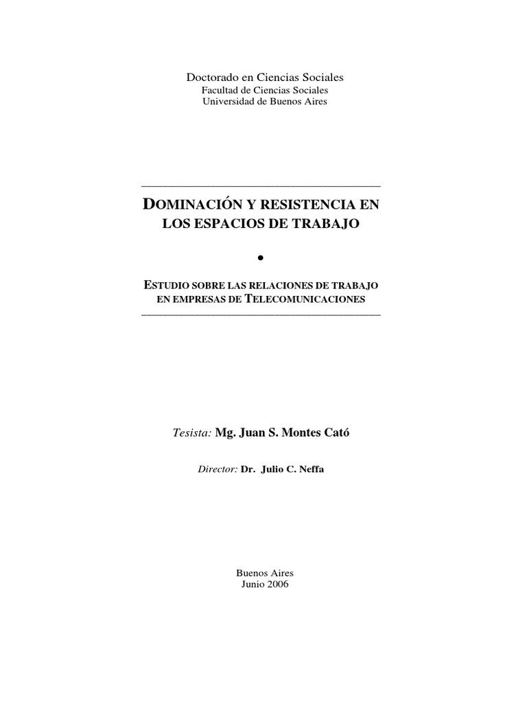 Montes Cató, Juan -Dominación y Resistencia en El Trabajo