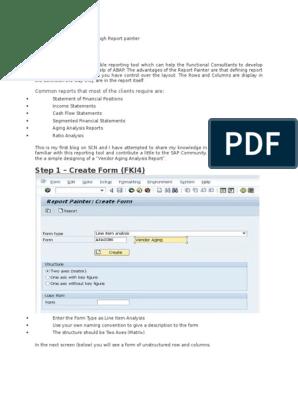 Vendor Ageing Analysis Through Report Painter | Business