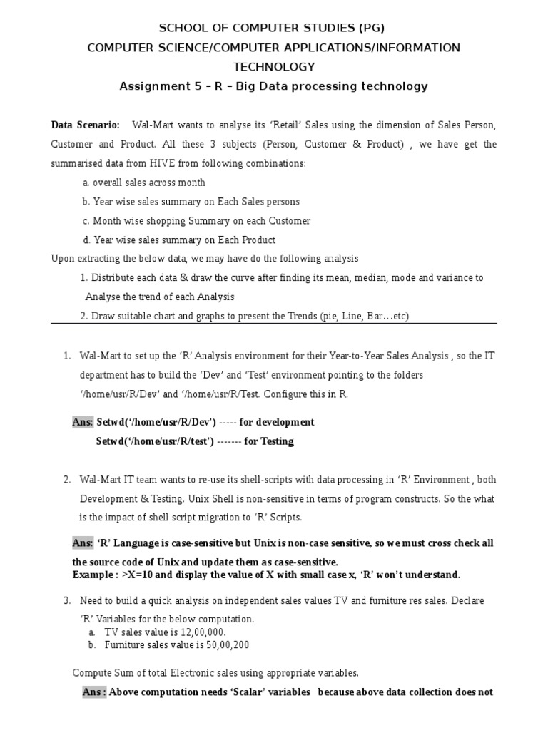 R-ASSIGNMENT With Answers | Variable (Computer Science) | Statistics