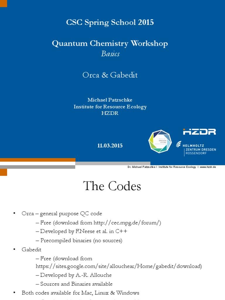 OrcaGabedit Manual | Computational Chemistry | Molecules