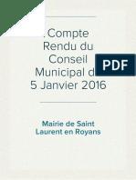 Compte Rendu du Conseil Municipal du 5 Janvier 2016