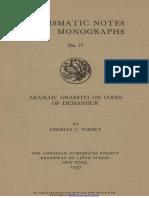 Aramaic graffiti on coins of Demanhur / by Charles C. Torrey
