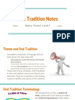 oral tradition notes