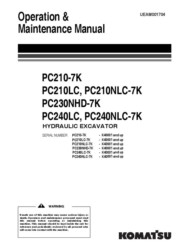 PC210-240-7K_M_UEAM001704_PC210_PC230_PC240-7K_0310.pdf | Lock (Security  Device) | Safety