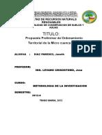 Propuesta de Zonificación Microcuenca Supte
