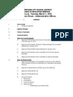 Watertown City School District Board of Education Agenda March 1, 2016