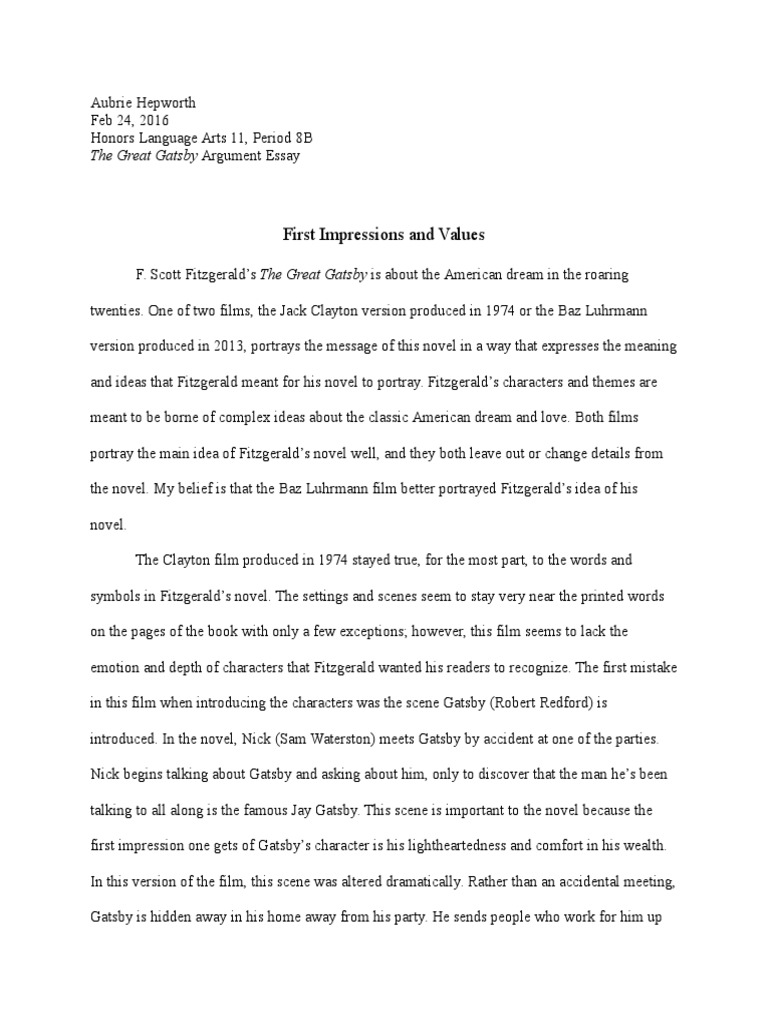 The Great Gatsby Argument Essay  The Great Gatsby  F Scott Fitzgerald