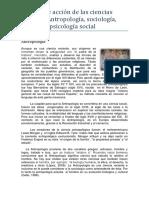Antropología, sociología, historia y psicología social