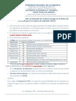 Instrucciones de Pago para la matricula de admisión UNC