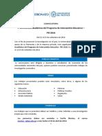 Convocatoria v Conferencia Académica Del PIE 2016