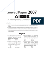 JEE MAINS Solved Paper 2007