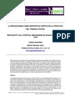 La Reflexividad Como Dispositivo Crítico en La Práctico Del Trabajo Social