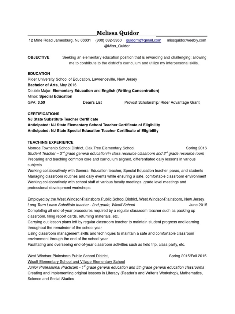 Resume Special Education Teachers