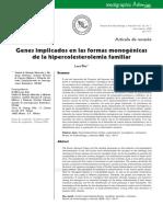 Genes implicados en las formas monogénicas de la hipercolesterolemia familiar