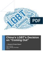 "China's LGBT's Decision on ""Coming Out"" - Report (Chen Yankang)"