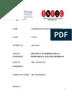 Bio Report 1 -Heat on Membrane
