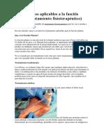Tratamientos Aplicables a La Fascitis Plantar (Tratamiento Fisioterapéutico)