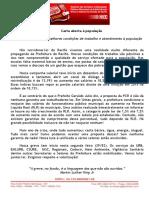 Carta Aberta do SINDSEPRE à População