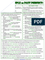 Simple Past or Past Perfect Tense Grammar Exercises Worksheet