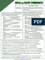 Simple Past or Past Perfect Tense Grammar Exercises Worksheet