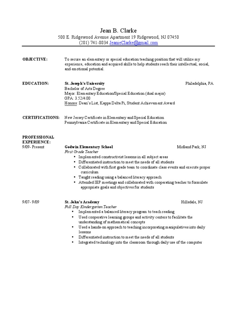 Resume Usm Pdf Special Education Differentiated Instruction