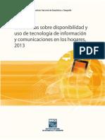 Disponibilidad y Uso de Tecnologías en Los Hogares 2013