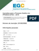 Processo Seletivo EGC 2016 - Inscrição