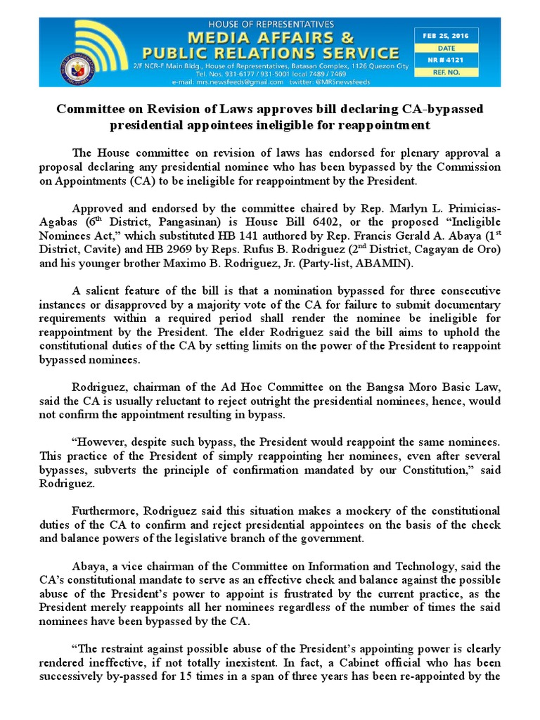 feb25.2016Committee on Revision of Laws approves bill declaring CA-bypassed  presidential appointees ineligible for reappointment  4bae5736fabde