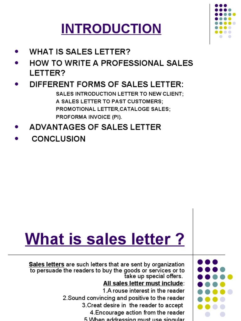assignment on sales letter