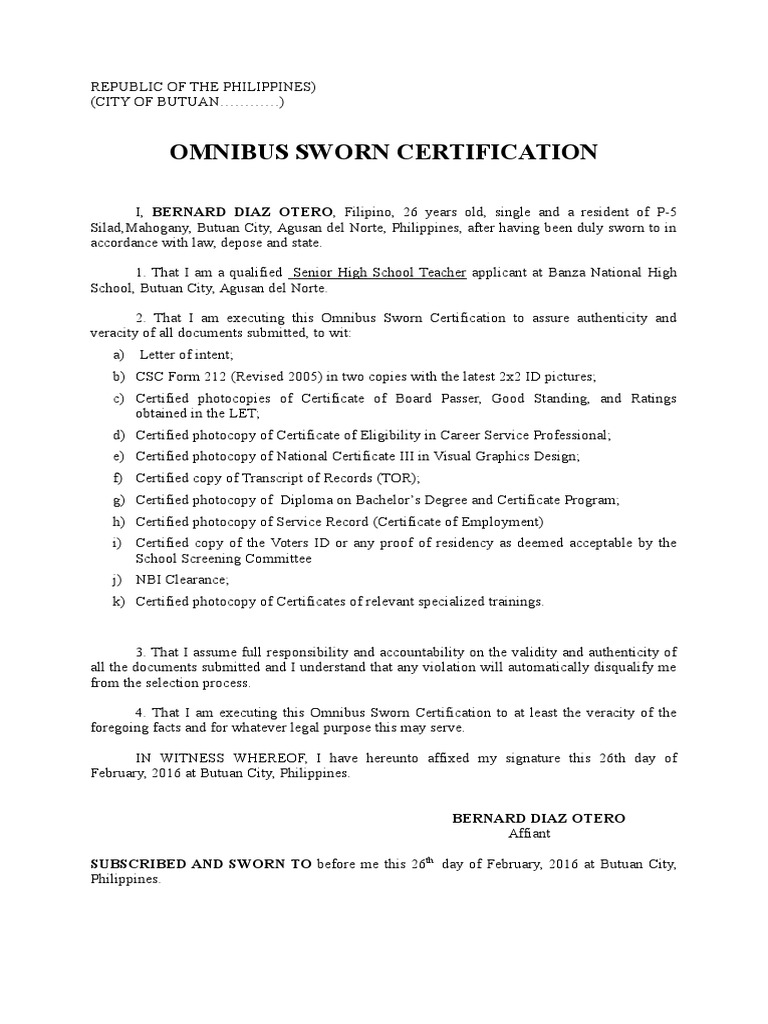 Omnibus Professional Certification Academic Certificate