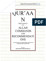 Qur'aan Pertaining to Allah Commands and Recommendations
