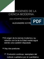 Los Origenes de La Ciencia Moderna. Koyré
