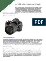 Tips Memilih Kamera DSLR dalam Memahirkan Fotografi