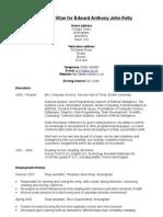 Curriculum Vitae for Edward Kelly 2008