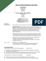 Cirriculum Vitae for Edward Kelly 2008