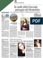 Alle spalle della Gioconda c'è il paesaggio del Montefeltro - Il Resto del Carlino del 26 febbraio 2016